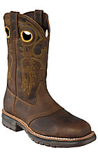 Rocky Men's Dark Distressed Brown Saddle Vamp Square Steel Toe Work Western Boots