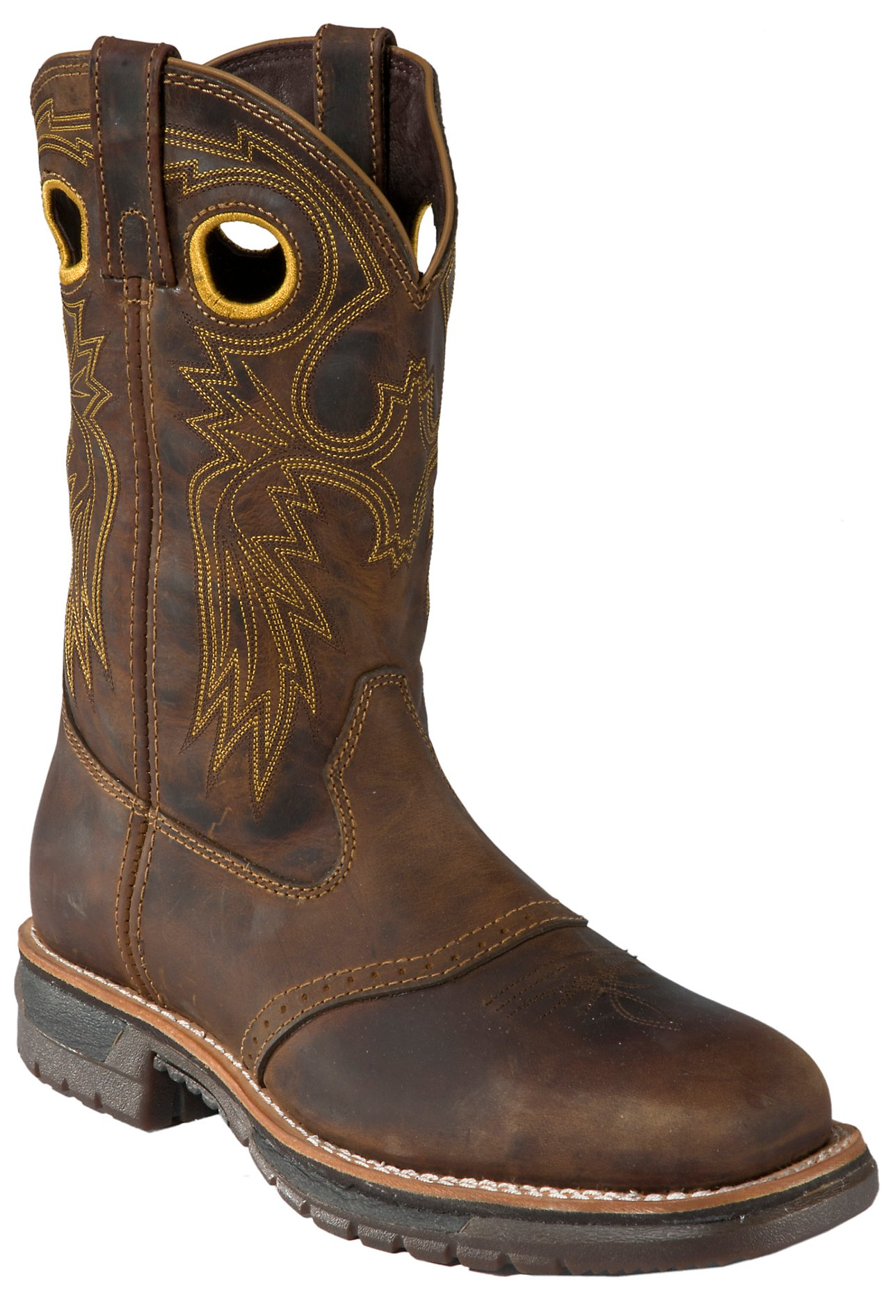 Rocky Men's Dark Distressed Brown Saddle Vamp Square Steel Toe ...