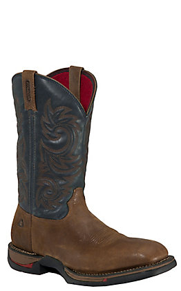 Rocky Men's Long Range Saddle Brown and Navy Waterproof Square Toe Work Boot