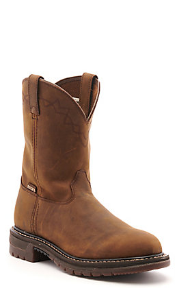 Rocky Men's Original Ride Brown Round Toe Wellington Work Boot