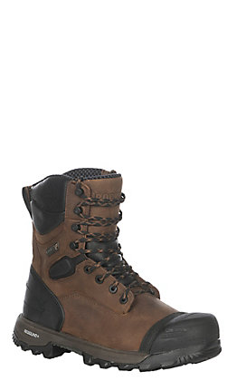 "Rocky Men's Brown and Black Waterproof Round Composite Toe 8"" Lace Up Work Boots"