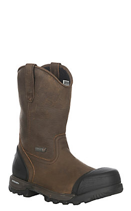 Rocky Boots Men's Leather Wellington Round Toe Work Boot