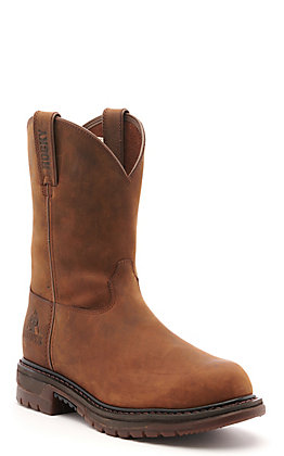 Rocky Men's Original Ride Brown Waterproof Round Steel Toe Wellington Work Boot