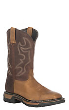Rocky Men's Crazy Horse Bridle Brown Square Toe Western Work Boot