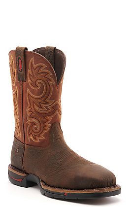 Rocky Men's Long Range Dark Brown and Rust Wide Square Steel Toe Work Boot - Cavender's Exclusive