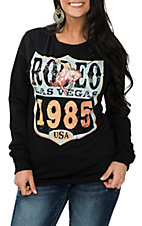 XOXO Art & Co. Women's Black and Gold Rodeo 1985 Long Sleeve Casual Knit Shirt