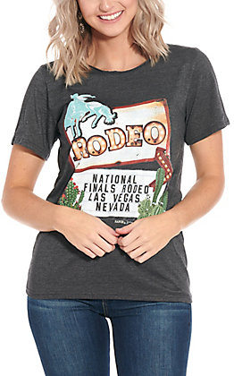Ranch Swag Women's Heather Black NFR Las Vegas Nevada Graphic T-Shirt
