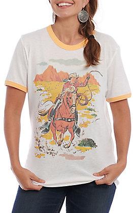 Gina Women's White Roy Rogers Graphic Short Sleeve T-Shirt