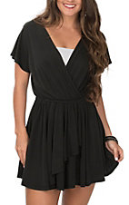R. Rouge Women's Black V-Neck Short Sleeve Romper