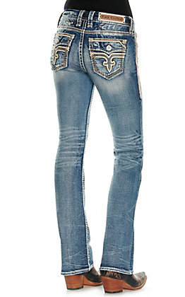 Rock Revival Women's Olivine Light Wash Leather and Mesh Faux Flap Pockets Boot Cut Jeans