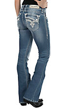 Rock Revival Women's Light Wash with White Embroidery and Sequin Details Open Pocket Boot Cut Jeans