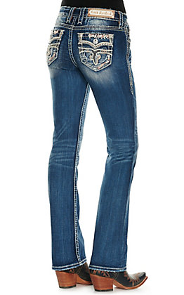 Rock Revival Women's Jena Medium Wash Peachy Stitched Faux Flap Pockets Boot Cut Jeans