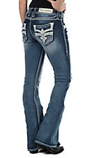 Rock Revival Women's Dark Wash with White Embroidery and Sequin Details Open Pocket Boot Cut Jeans