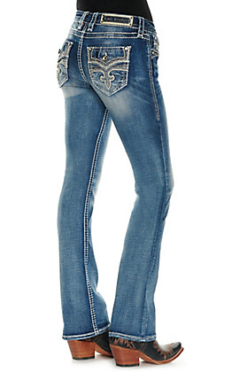 Rock Revival Women's Celinda Medium Wash Leather Overlays Faux Flap Pockets Boot Cut Jeans