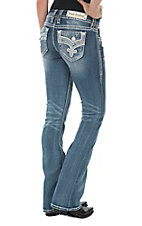 Rock Revival Women's Merrin Medium Wash Open Pocket Boot Cut Jeans
