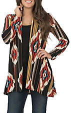 R. Rouge Women's Goldand Orange Aztec Cardigan