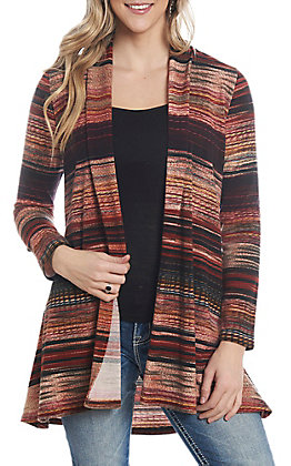 R. Rouge Women's Rust Serape Stripe Kimono