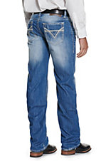 Rock & Roll Cowboy Medium Wash Raised Denim Double V Pocket Double Barrel Relaxed Fit Straight Leg Jeans