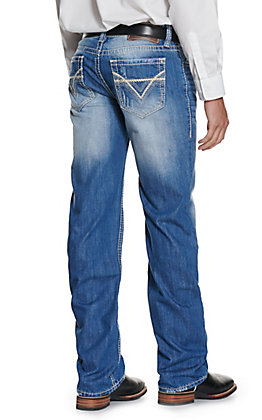 Rock & Roll Denim Men's Double Barrel Medium Wash Relaxed Fit Straight Leg Jean