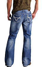 Rock & Roll Cowboy Medium Stonewash Double V Barrel Relaxed Fit Boot Cut Jeans