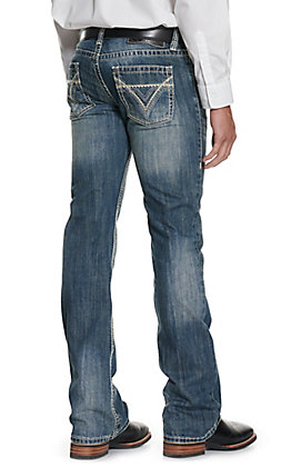 Rock & Roll Denim Pistol Medium Wash Slim Fit Straight Leg Jean