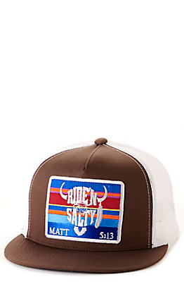 Salty Rodeo Co. Brown & White Bison Patch Tall Crown Snapback Cap