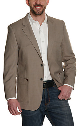 Red Sky Men's Tan with Patch Pockets Two Button Sport Coat