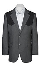 Red Sky Men's Grey Herringbone Patches Blazer