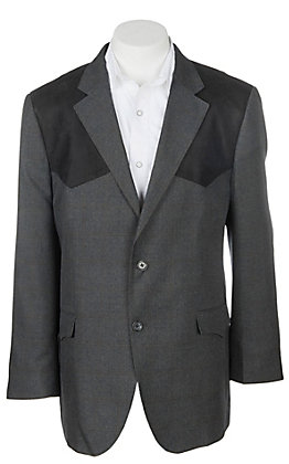 Red Sky Men's Charcoal & Black Suede Patch Sport Coat