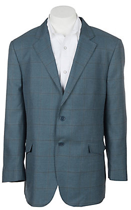 Red Sky Men's Blue Plaid Two Button Sports Coat