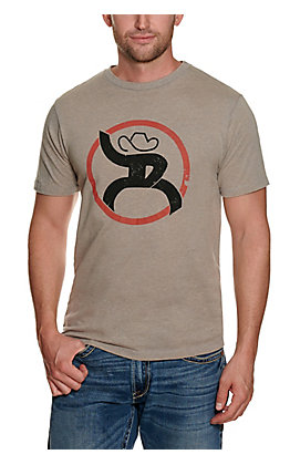 Hooey Men's Heather Grey with Red and Black Logo Short Sleeve T-Shirt