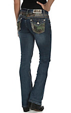 Grace in LA Women's Dark Wash with Realtree Camo Patches Button Down Pocket Boot Cut Jeans