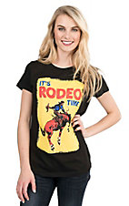 Bohemian Cowgirl Women's Black with It's Rodeo Time Screen Print Short Sleeve Casual Knit Top