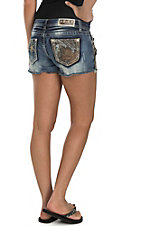 Grace in LA Women's Dark Wash with Camo Open Pocket Shorts