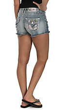 Grace in LA Women's Light Wash with Realtree Pink Camo Patches Open Pocket Shorts