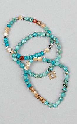 Pink Panache Women's 3 Stretch Turquoise Jasper Bracelets