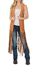Crazy Train Women's Orange Rust Fringe Duster Vest
