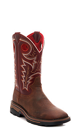 R. Watson Men's Adobe Brown & Cherry Red Square Steel Toe Work Boots