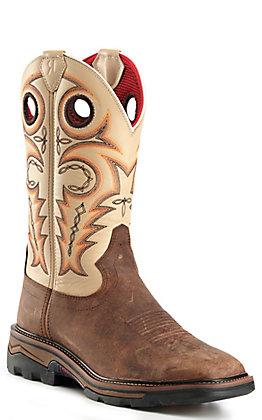 R. Watson Men's Distressed Chestnut & Ivory Bone Square Toe Work Boots