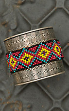 Silver with Pink Beaded Aztec Center Wide Cuff Bracelet RY002BK