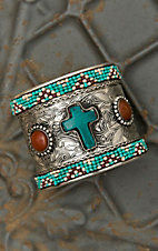 Wide Silver Cuff with Turquoise Cross Bracelet