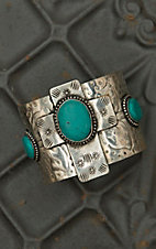 Silver Etched with Turquoise Cross Wide Cuff Bracelet RY004