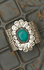 Silver Floral with Turquoise Center Wide Cuff Bracelet RY007