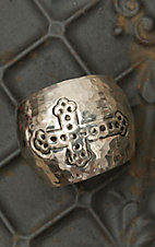 Silver Cross Hammered Wide Cuff Bracelet RY009SL