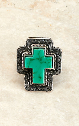 Amber's Allie Silver with Turquoise Stone Cross Concho Stretch Ring