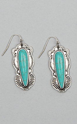 Amber's Allie Women's Silver And Turquoise Dangle Earrings