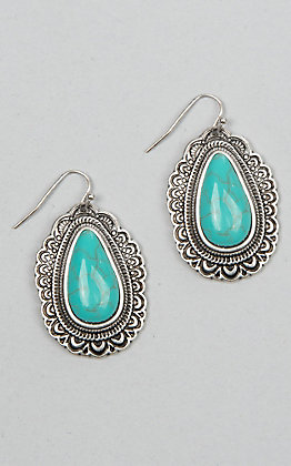 Amber's Allie Oval Turquoise and Silver Earrings