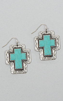 Amber's Allie Silver and Turquoise Cross Earrings