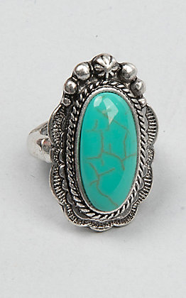 Amber's Allie Silver with Oval Turquoise Stone Concho Stretch Ring