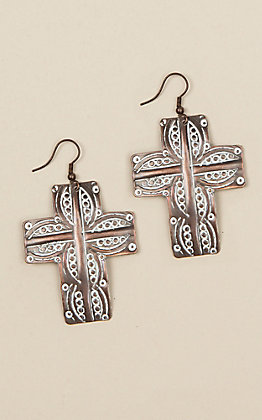 Amber's Allie Copper Cross Earrings